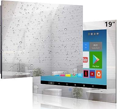 Haocrown Smart TV LED para baño IP66 Sistema Android Resistente al Agua Televisor con Pantalla táctil con Wi-Fi Incorporado (19 Pulgadas, Espejo)