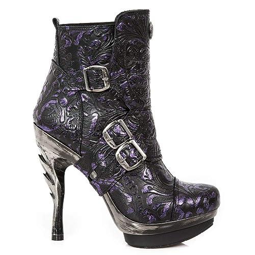 New Rock M.PUNK098X-S14 Mujer Chica Botines Morado Lila Tacón Hebilla Rock Punk Militar Heavy Gótico Urban: Amazon.es: Zapatos y complementos