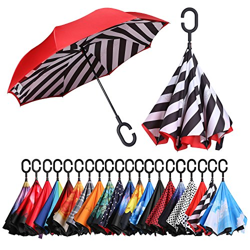BAGAIL Double Layer Inverted Umbrellas Reverse Folding Umbrella Windproof UV Protection Big Straight Umbrella for Car Rain Outdoor With C-Shaped Handle Stripe