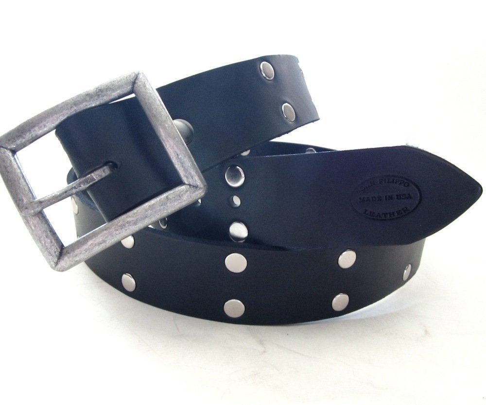 Black Leather and Rivets Belt