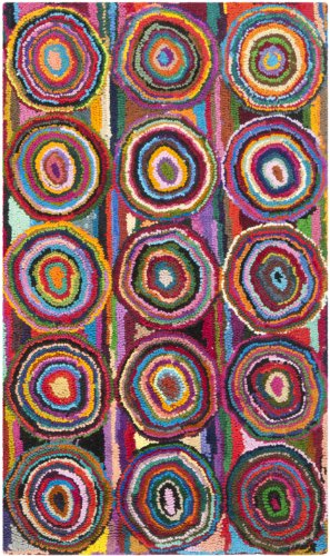 Safavieh Nantucket Collection NAN143A Handmade Abstract Geometric Pink and Multi Cotton Area Rug (2' x - Hooked Collection Rug Accents