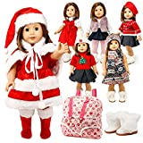 Oct17 Doll Clothes for American Girl 18' inch Dolls Wardrobe Makeover Outift Christmas Santa Casual Dress Boots Bundle