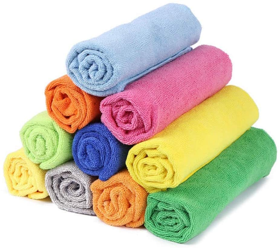 Your Store Microfibre Cleaning Cloths pack of 10 multicoloured 30cm x 30cm cleaning cloth