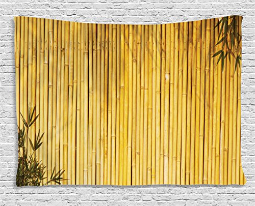 Bamboo Decor Tapestry by Ambesonne, Tall Bamboo Stems and Leaves Oriental Nature Wood Image Natural Zen Asian Wildlife Home Decor, Wall Hanging for Bedroom Living Room Dorm, 60 W X 40 L Inches, Yellow