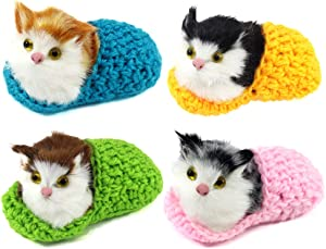 Coolayoung 4Pcs Waking Cat in Slipper Doll Toy, Mini Kitten in Shoe with Meows Sounds Decor Hand Toy Gift for Kids Boys Girls (Bright Color)
