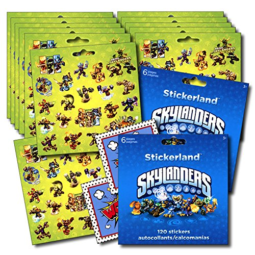 SKYLANDERS Stickers Party Favors - Bundle of 12 Sheets 240+ Stickers plus 2 Specialty (Skylanders Stickers)