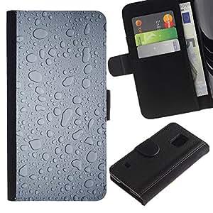 SAMSUNG Galaxy S5 V / i9600 / SM-G900 , la tarjeta de Crédito Slots PU Funda de cuero Monedero caso cubierta de piel ( Water Rain Window Droplets Grey Textile Art)