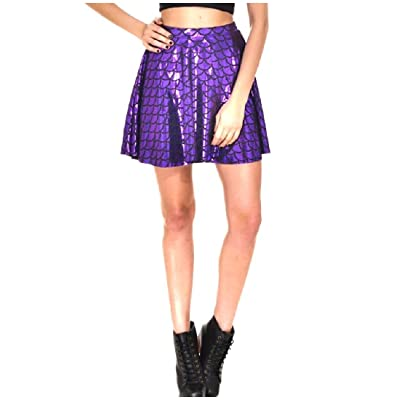 Abetteric Womens Stylish Plus-Size High Waist Fish Scales Skater Skirt