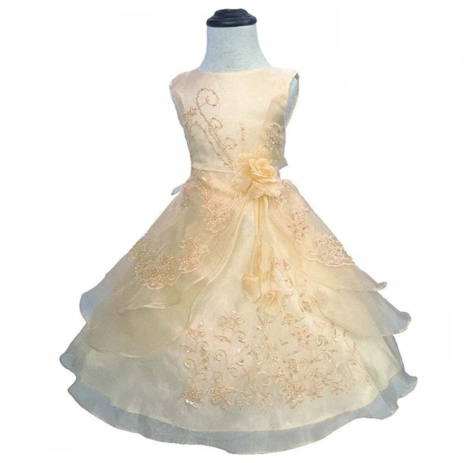 abc401e59 AliceHouse Girls Long Embroidered Flower Wedding Party Bridesmaid Princess  Gown Dress GD35