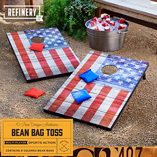 Refinery Vintage Americana Deluxe Bean Bag Toss Set, Complete Cornhole Game, Best Picnic & BBQ Target Sport, 2 Folding Targets, 8 Premium Bean Bags in 2 Colors for Team Play, Easy Storage, Family Fun by Refinery (Image #1)