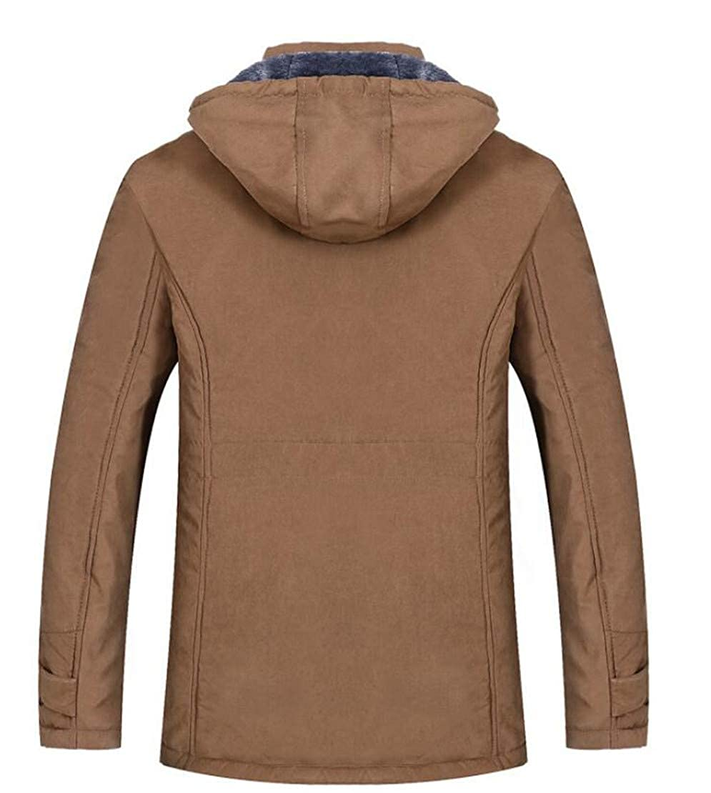 Frieed Mens Hooded Quilted Stand Collar Fleece Linen Fashion Down Jacket