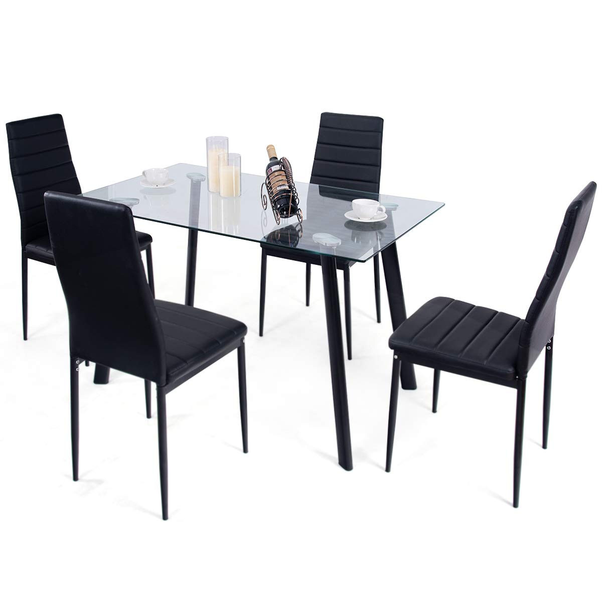 Tangkula 5 PCS Dining Table Set Modern Tempered Glass Top and PVC Leather Chair w/4 Chairs Dining Room Kitchen Furniture (Black) by Tangkula (Image #7)