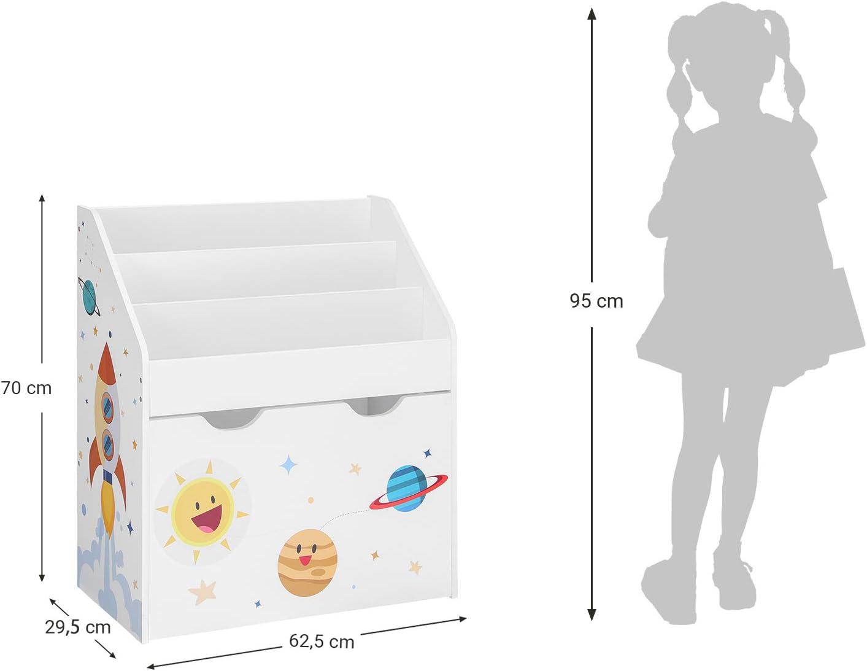 SONGMICS Scaffale per Giocattoli Bianco GKR41WT Contenitore Portagiochi Estraibile con Ruote Multiuso per Cameretta e Stanza dei Giochi Libreria per Bambini a 3 Scomparti