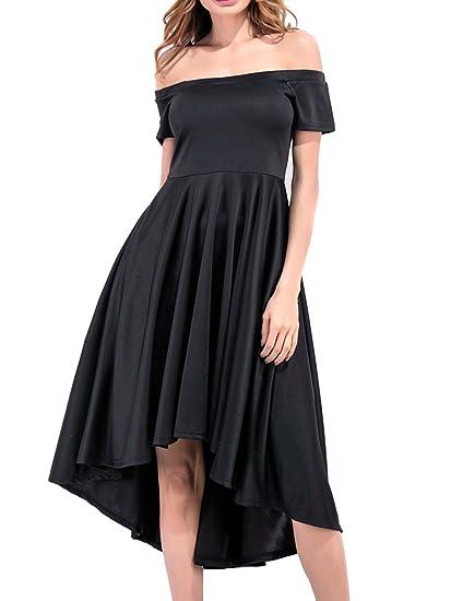 Women s Casual Off The Shoulder Short Sleeve Hi-Low Skater Party Prom Dress- Black 76de2c3947