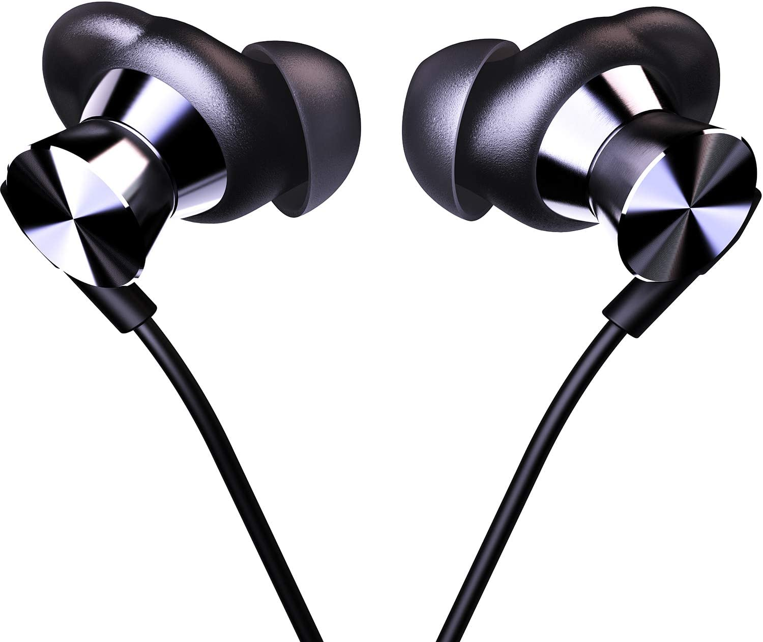 in Ear Headphones Wired Earbud with Line-in Microphone Heavy Bass Dynamic Driver Earphones with Non Tangle Fabric Braid for Running Gym Android Phones Music Player Dark Chrome E58