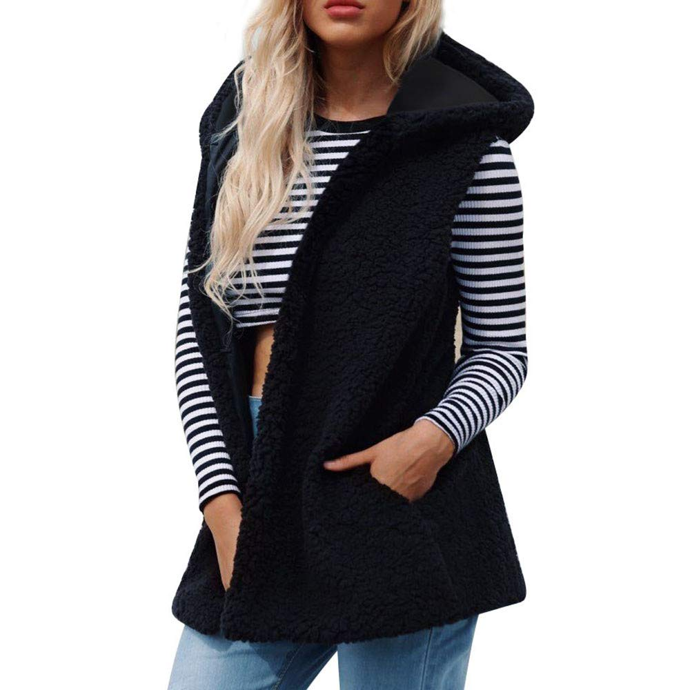 PENGYGY Women Vests Sleeveless Vest Hoodie Bulk Winter Loose Vest Coat Fashion Fall and Winter Plush Hoodie