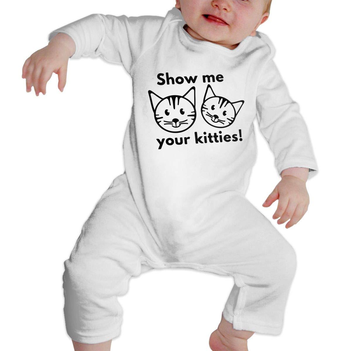 Mri-le1 Newborn Kids Jumpsuit Show ME Your Kitties 1 Infant Long Sleeve Romper Jumpsuit