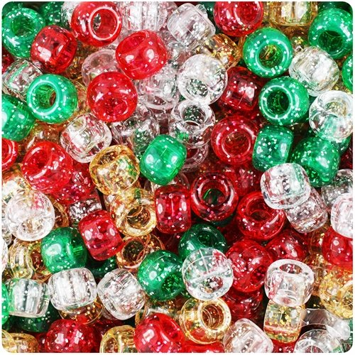 100 Christmas Sparkle Pony Bead Mix 9mm x 6mm Beads and Charms