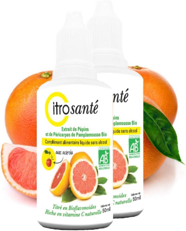 Citrosanté - Extracto de semillas de pomelo orgánico 2 botellas de 50 ml (100 ml)
