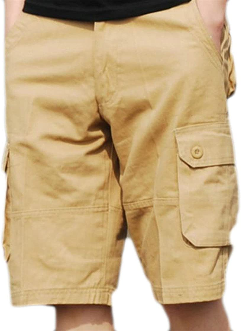 P/&E Mens Sports Straight Leg Multi Pocket Bermuda Cargo Shorts