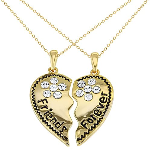 Amazon in season jewelry gold tone best friends forever in season jewelry gold tone best friends forever necklace heart pendant clear crystals 19quot aloadofball Image collections