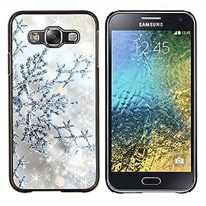 LECELL--Funda protectora / Cubierta / Piel For Samsung Galaxy E5 E500 -- Plata Winter Stars Sparkle --