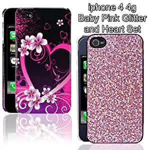 New hard black with hot pink heart and baby pink glitter 2 case set for iPhone 4 4s (2 pack) by ruishername