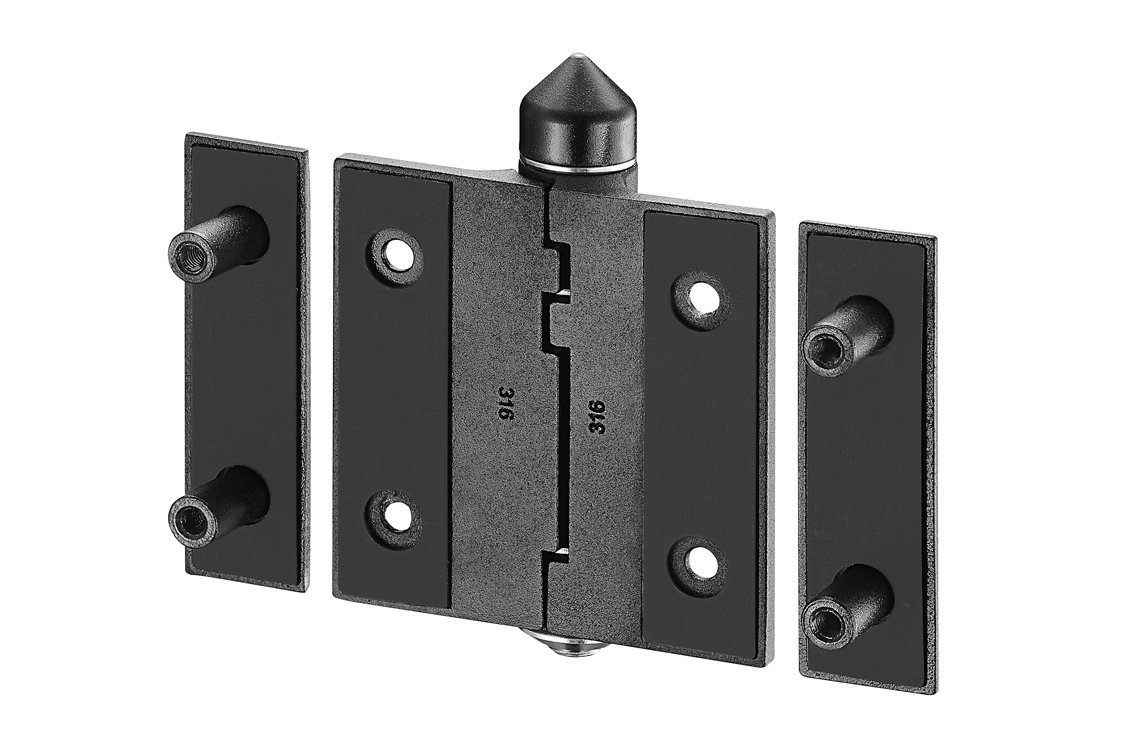 "Waterson 2 PCS Pool & Safety Gate Hinges Full Mortise 4.5"" 316SST Black without Hold Open"