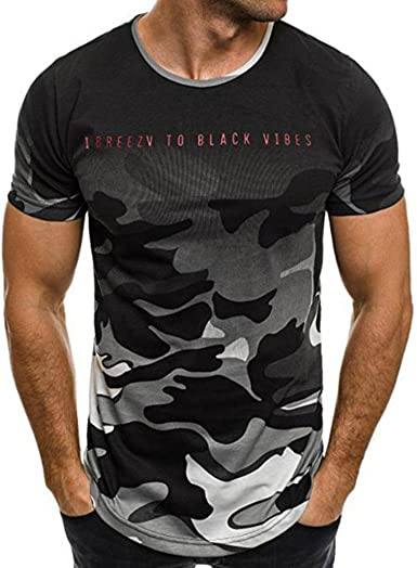 Yvelands Liquidación Cartas de Camuflaje de los Hombres de la Personalidad súper Moda Camiseta de Manga Corta Casual Camisa de Blusa de Top Sport: Amazon.es: Ropa y accesorios