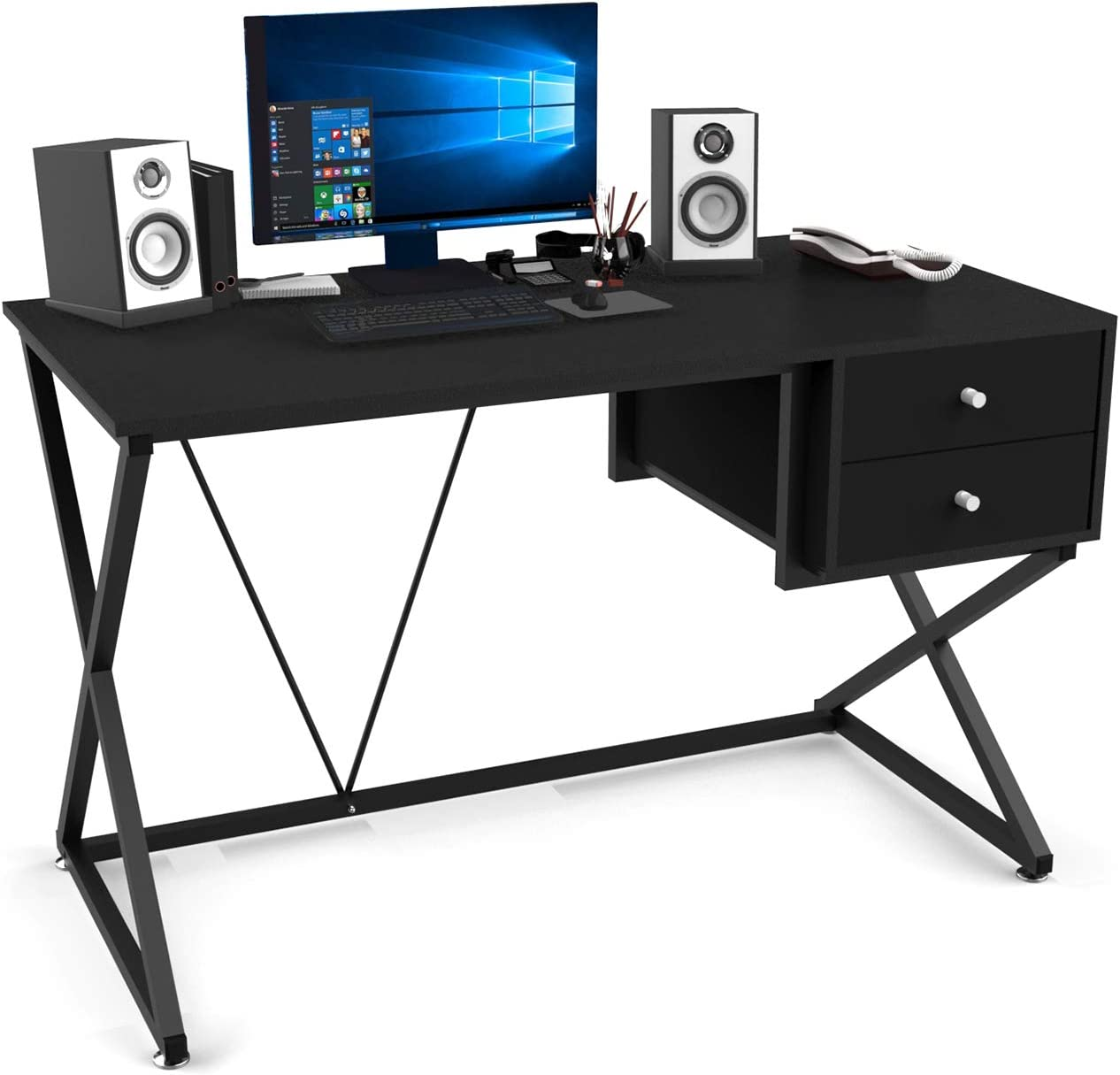 Kiimeey Black Computer Desk Table with Drawers Home Office Work Desk Student Writing Study Desk