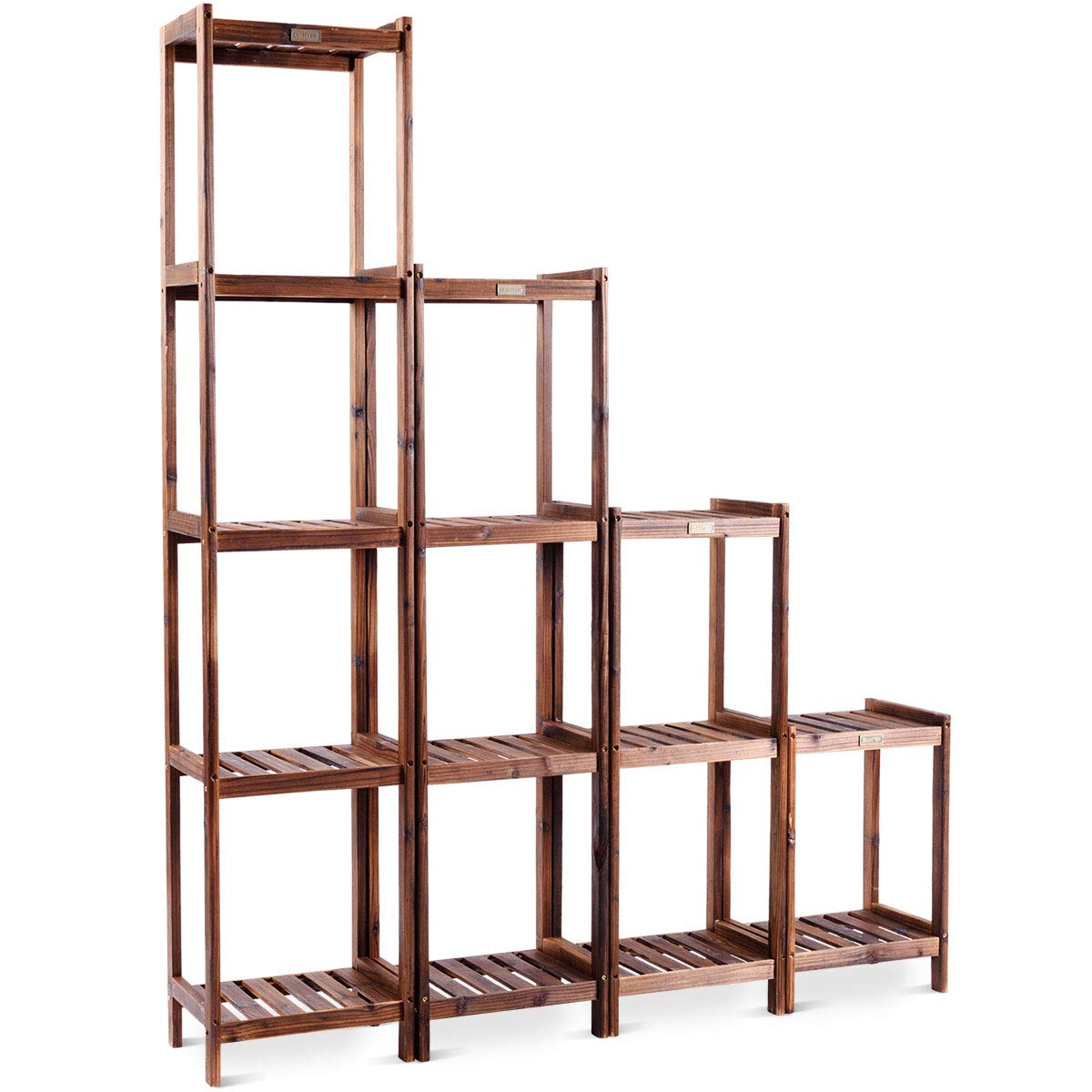 COSTWAY Plant Stand – with Wood Materials, 2/3/4/5 Tiers for Choose, Multilayer Design, Combinable Construction as Flower Rack | Display Shelf | Pot Holder in Garden, Patio Yard Outdoor Indoor (2 Tier)