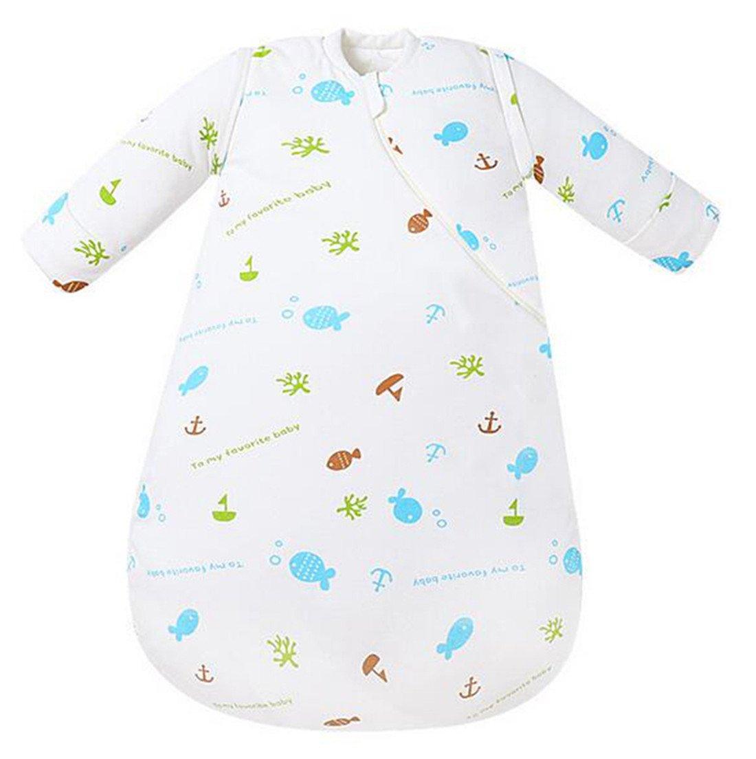 Chilsuessy Schlafsack Vorne 3.5 Tog und hinten 2.5 Tog Winter Babyschlafsack mit abnehmbar Langarm,5 Groesse fuer Kinder von 3 Monaten bis 4 Jahre Alt, Blau, S/Koerpergroesse 60-70cm