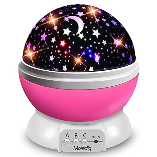 Moredig Lampara Proyector Infantil 360 Rotación y 8 Modos Iluminación Proyector Estrellas Luz de Nocturna para Niños y Bebés Cumpleaños Día de los Reyes Navidad Halloween Rosa