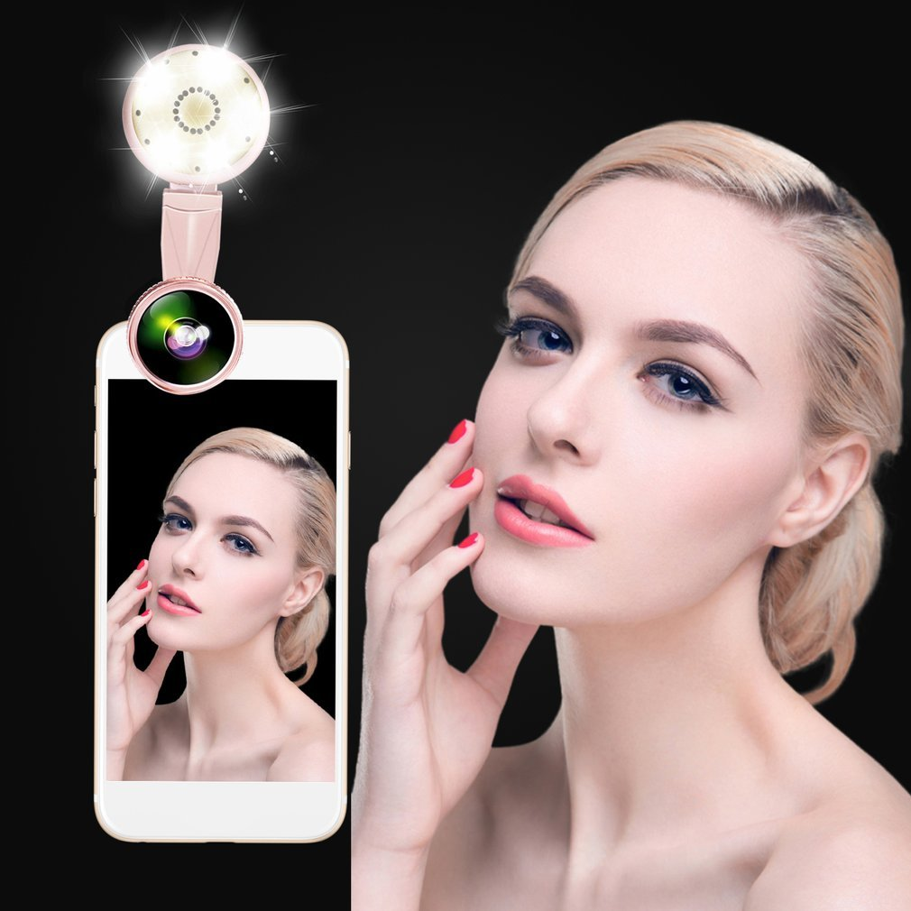 Cell Phone Lens Ring Light Clip on, OCDAY Portable Selfie Led Light with 9 Lighting Model+20X Macro Lens+ 4K HD Wide Angle Lens for Iphone Ipad Samsung Most Smartphones Tablet Laptop (Pink)