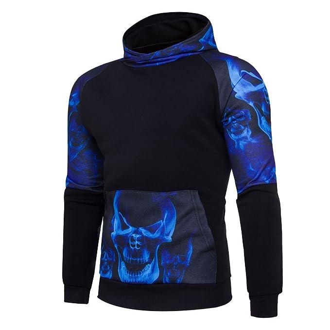 OHQ Sudadera con Capucha De La ImpresióN del Invierno Hombres Negro Gris Blanco Rojo Azul Chaqueta De La Capa Outwear Tops Camisa: Amazon.es: Ropa y ...