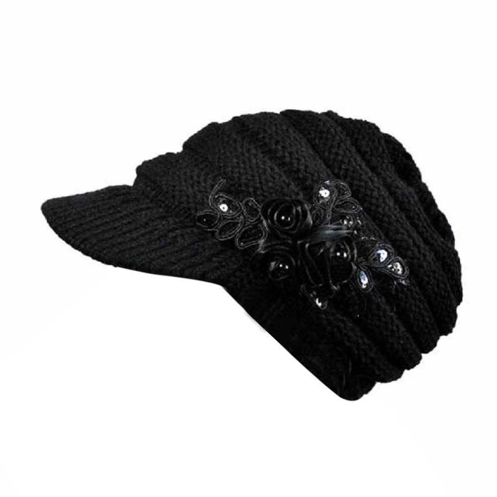 Kailemei Women Hat Korean Version of The and Winter Ladies Hat Brim Sequin Applique (Black, Free)