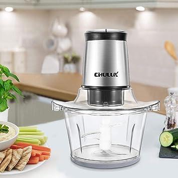 chulux picadora eléctrica 2 velocidades recipiente de cristal para carne verduras fruta bebé alimentos 400 W, 1,5 L: Amazon.es: Hogar