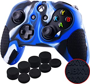 YoRHa Thickened Rubber Silicone Cover Skin Case 3D Letters Massage Grip for Xbox One S/X Controller x 1(Camouflage Blue) with PRO Thumb Grips x 8
