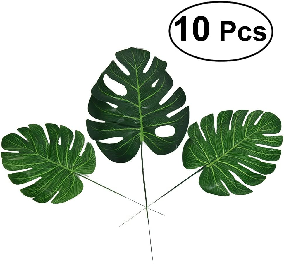 WINOMO hojas de Palma artificiales - planta artificial para decoración de fiesta Luau hawaiano playa fiesta temática 10pcs - L