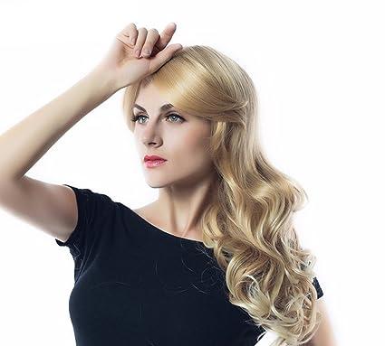 Pelucas Rubias Largas Con Flecos Para Las Mujeres, Peluca De Cabello Rubio Blanqueador De Cabeza