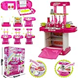 Kids Children Portable Pink Electronic Kitchen Cooking Girl Toy Cooker Play Set w/ Sounds n Lights (SI-TY1009) by Lado
