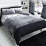 York City Black Double Duvet And Pillowcase Set