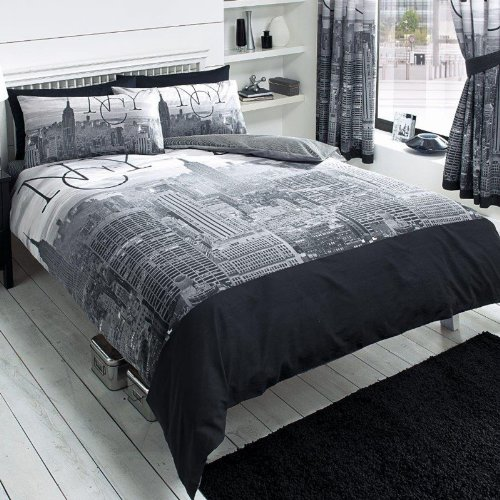 New York City Black Double/US Full Duvet Cover and Pillowcase Set