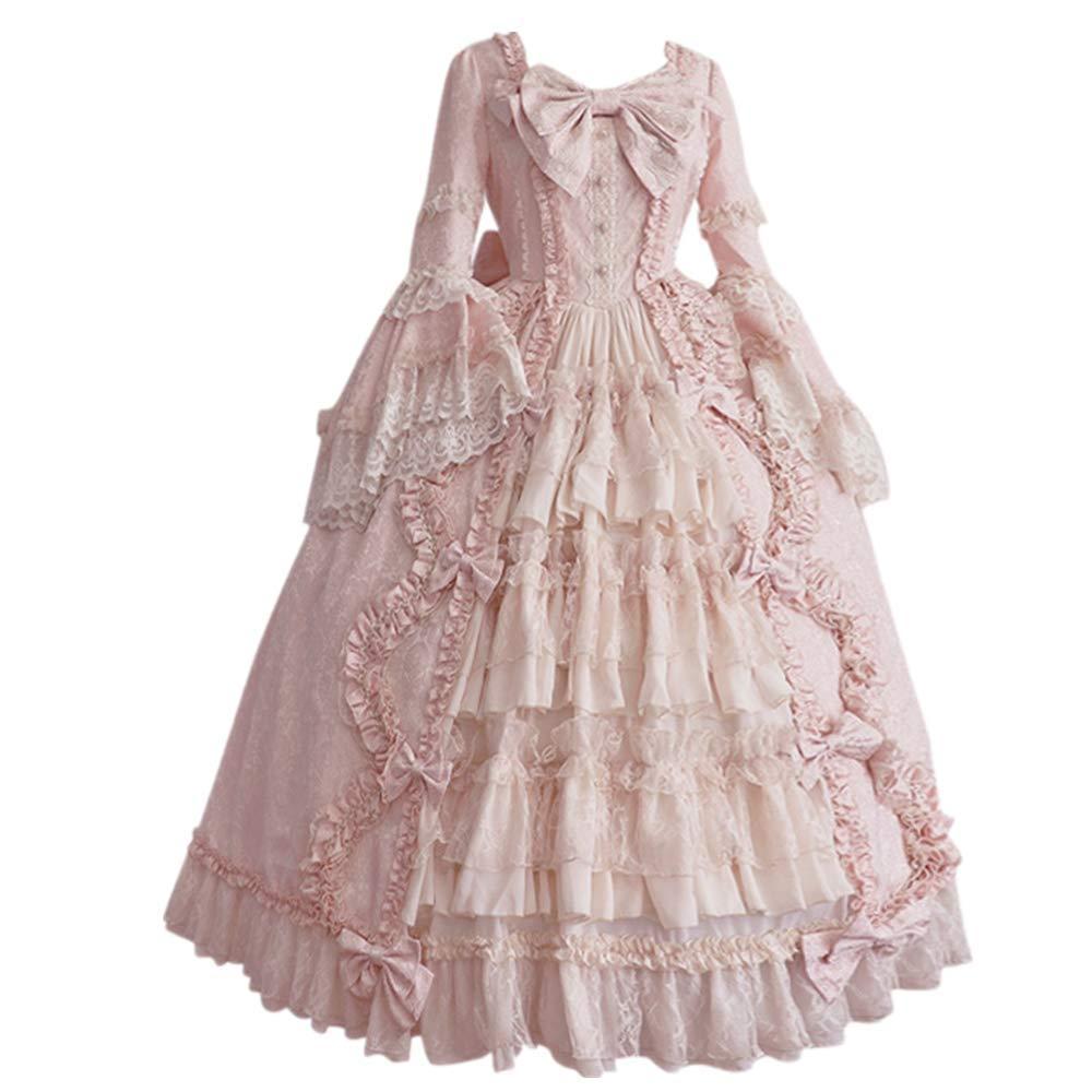 Women's Sweet Lolita Dress Princess Halloween Court Skirts Cosplay Costumes for Girls Bow Tie Ruffle Dresses (XXXL, Pink) by sweetnice Women Dresses