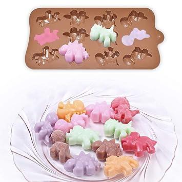 HomEdge - Molde de silicona para bombones de dinosaurio (12 cavidades, 4 unidades, antiadherente, apto para uso alimentario, para dulces, chocolate, ...