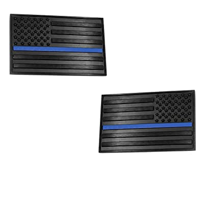 "USA American 3D Metal Flag x2 emblem Forward and Reverse for Cars Trucks (3.15""x 2"", Black & Black with Thin Blue Line): Automotive"