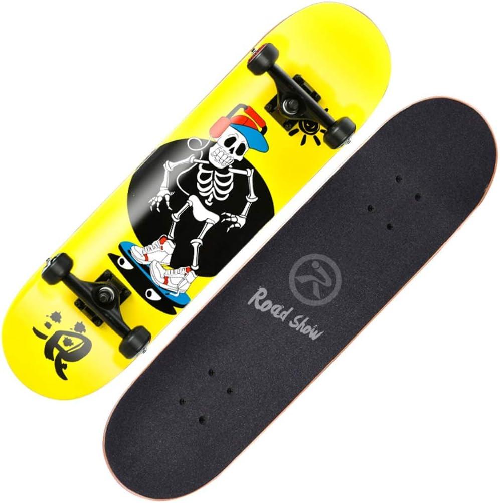 スケートボードスタンダードスケートボードキッズコンプリートスケートボードプロスケートボード凹面デッキ7層メープル初心者用女の子男の子大人向け B