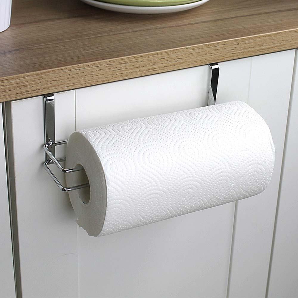 Rollo de papel de cocina de acero inoxidable gancho bajo armario toalla Tejido Holder Organizador Hanger rack para Cocina bajo armario para encima de la ...