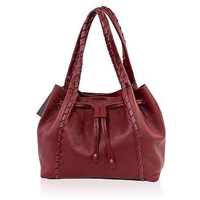 bd9349432191c VISONÀ Plinio Italienischer Designer - Marsala - Roter großer Handtasche  mit Kordelzug