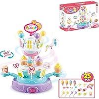Wodtoizi 25-Piece of Candy Ice Cream Cupcake Rotating Plate Toy Playset